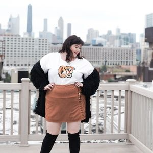Boohoo Skirts - Boohoo Plus Camel Suedette Lace-Up Mini Skirt - 20